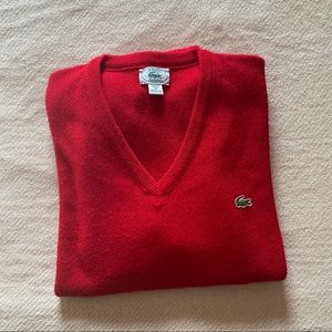 IZOD Lacoste Red V-Neck Sweater